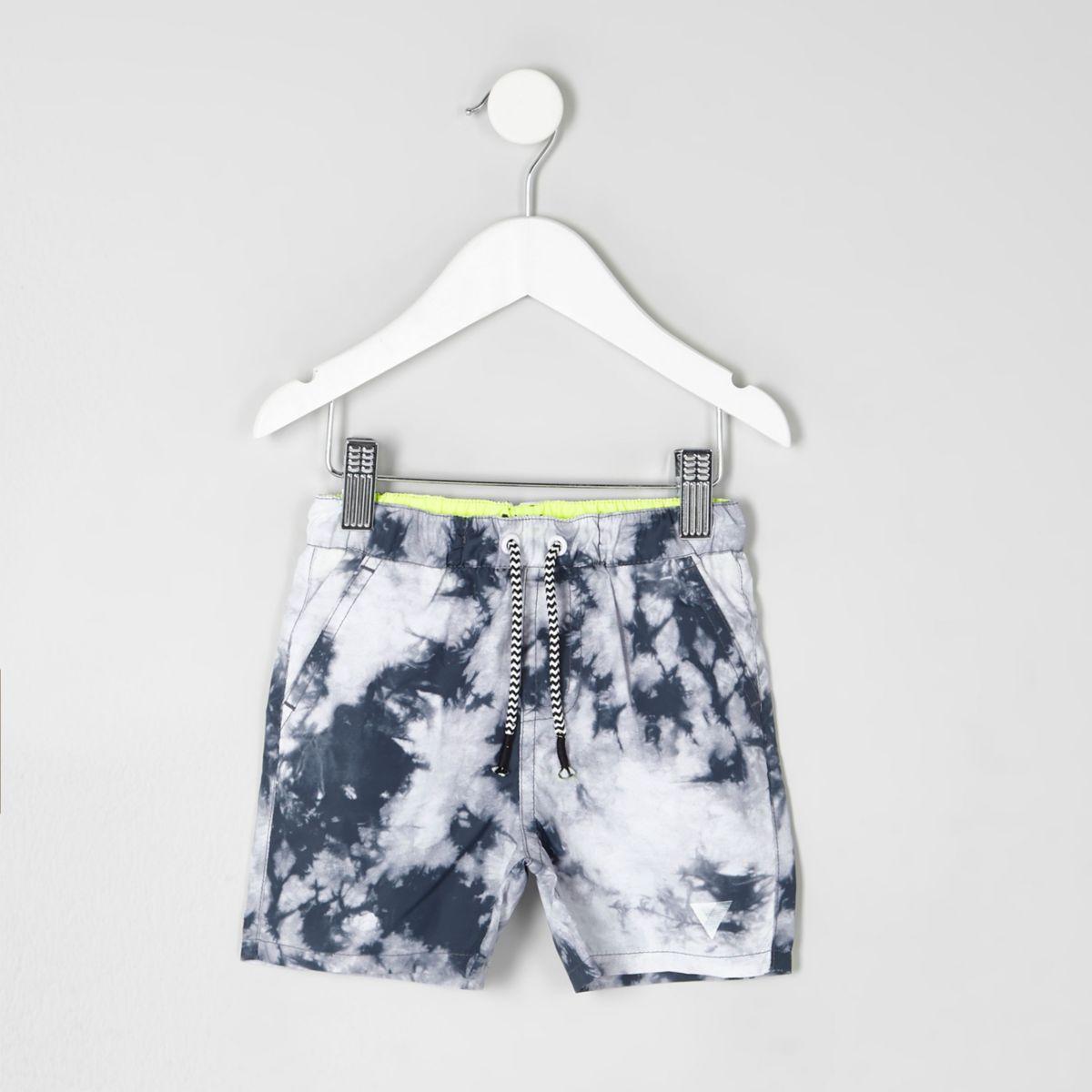 Mini boys grey tie dye swim shorts