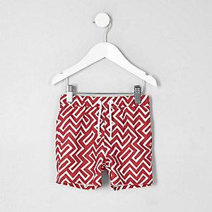 Short de bain imprimé géométrique rouge mini garçon
