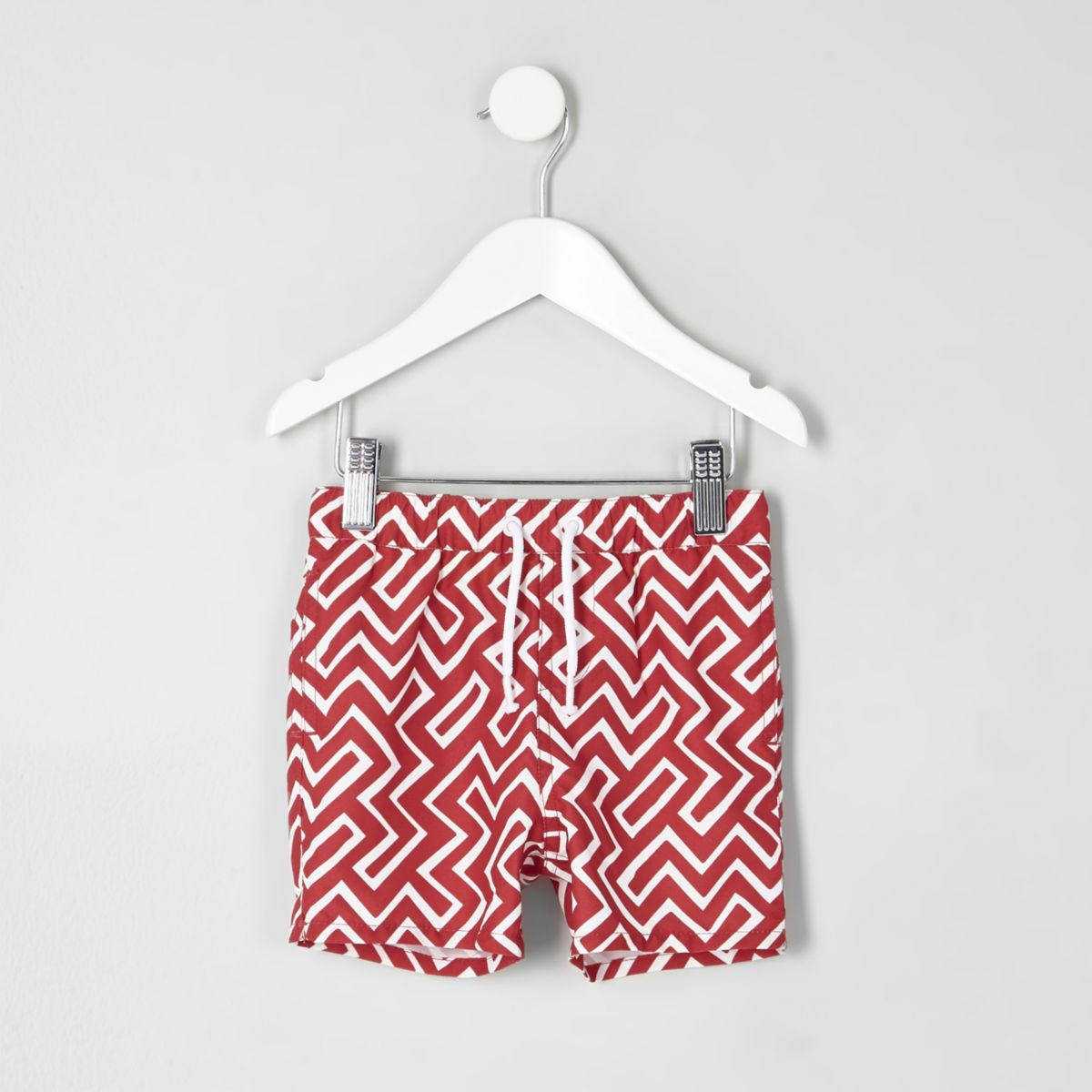 Mini boys red geo print swim trunks