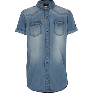 Boys blue wash short sleeve denim shirt