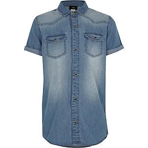 Boys blue wash short sleeve denim shirt