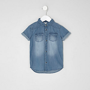 Mini boys light blue short sleeve denim shirt