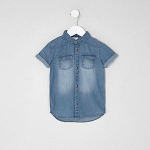 Mini boys light blue short sleeve denim shirt