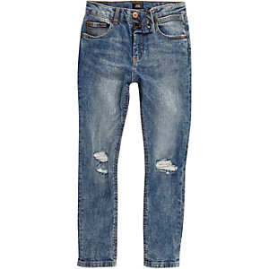 Boys blue Sid acid wash ripped skinny jeans
