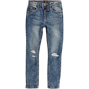 Boys blue Sid acid wash ripped skinny jeans