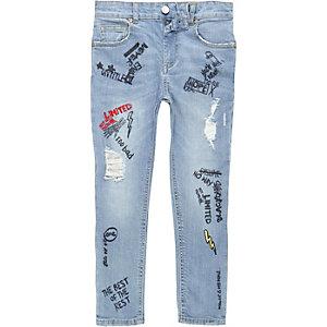 Sid - Blauwe doodle skinny jeans voor jongens