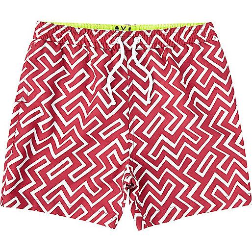 Boys red geo swim shorts