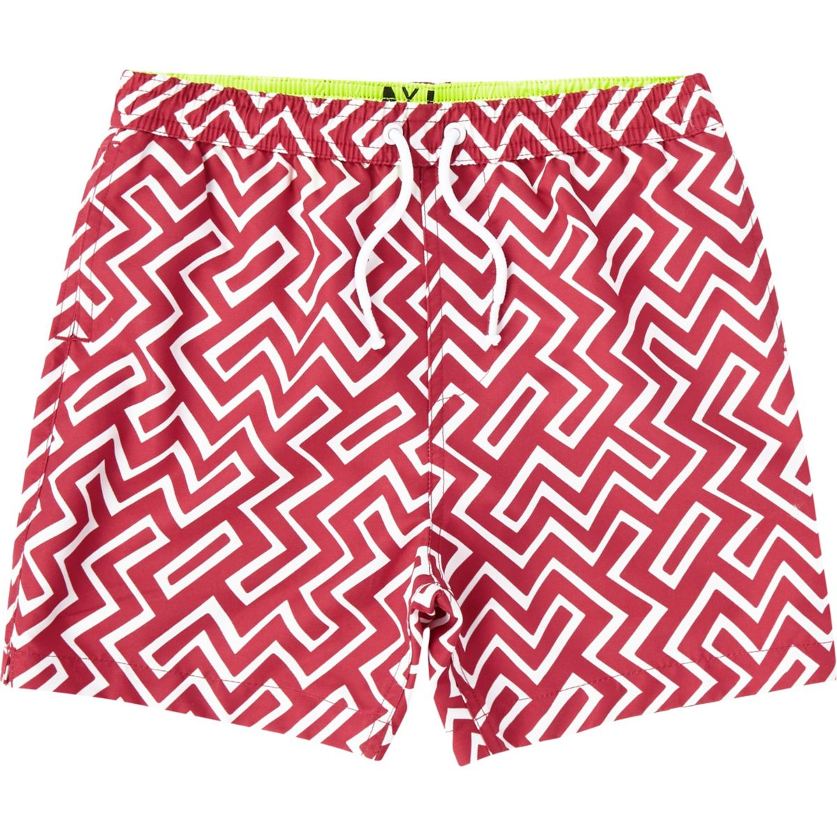Boys red geo swim trunks