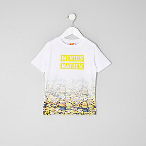 Mini boys white 'minion mayhem' fade T-shirt