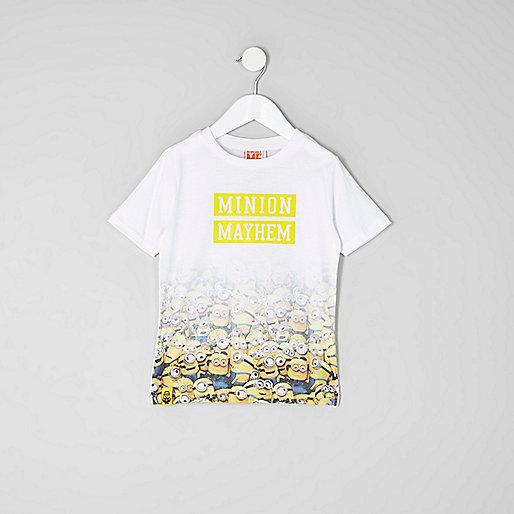 Mini boys white 'minion mayhem' fade T-shirt