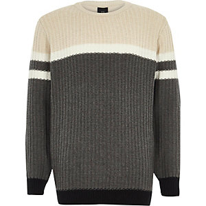 Boys grey ribbed front colour block jumper