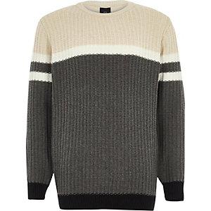 Grijze pullover met kleurvlakken en geribbelde voorzijde voor jongens