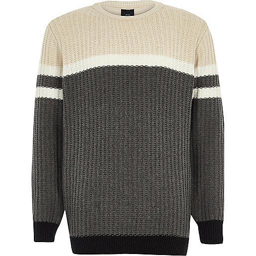 Boys grey ribbed front colour block jumper