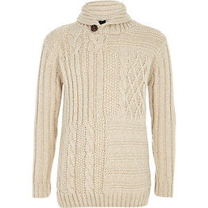 Boys cream mixed cable knit sweater
