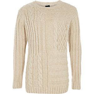Boys cream cable knit sweater