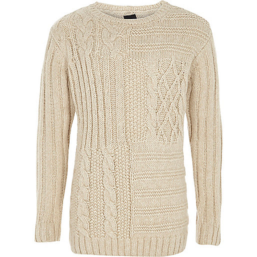 Boys cream cable knit jumper