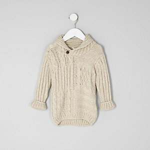 Mini boys cream cable knit sweater