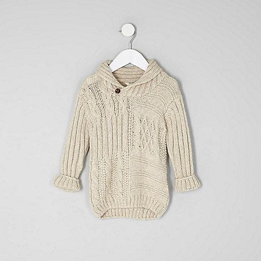 Mini boys cream cable knit sweater