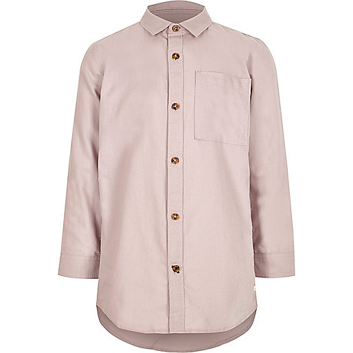 Boys pink long sleeve Oxford shirt