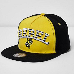 Boys yellow Minions 'rebel' flat peak cap
