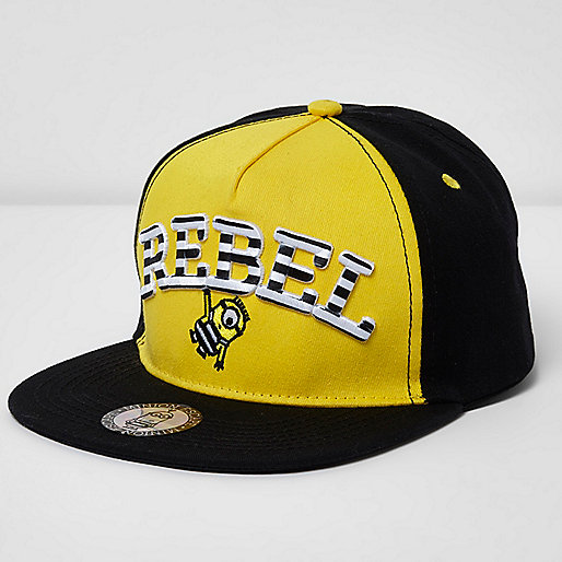 Boys yellow Minions 'rebel' flat peak cap