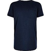 Boys navy curved hem T-shirt