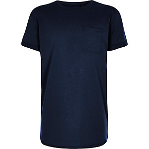 Boys navy curved hem T-shirt