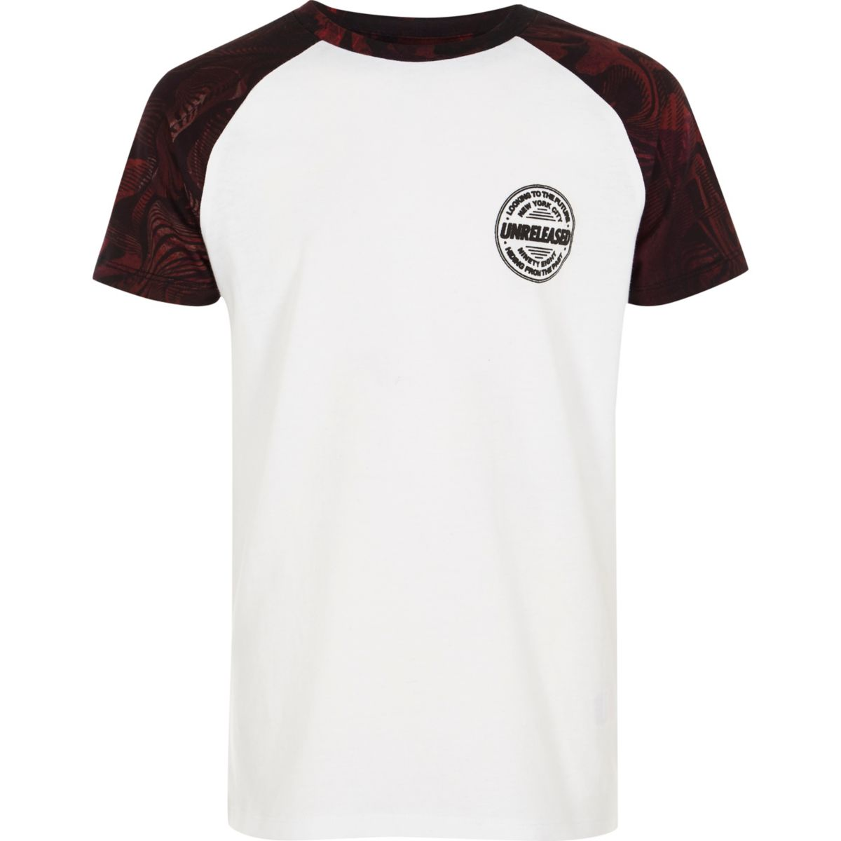 Boys white and red raglan sleeve T-shirt
