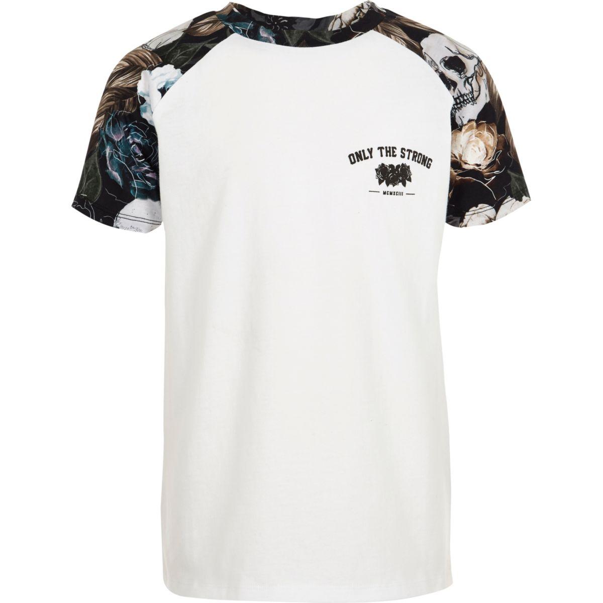 Boys white skull print raglan T-shirt