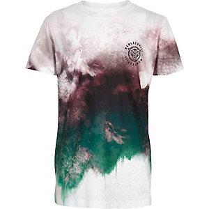 T-Shirt mit ausgebleichtem Geomuster