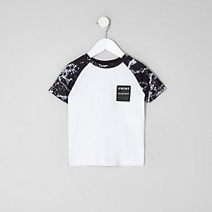 T-shirt blanc à manches raglan imprimées mono mini garçon