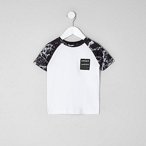 Mini boys white mono print raglan T-shirt