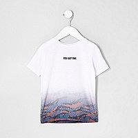 Mini boys white fade print T-shirt