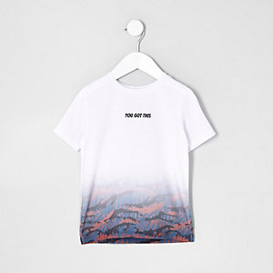 Mini - Wit T-shirt met vervaagde print voor jongens