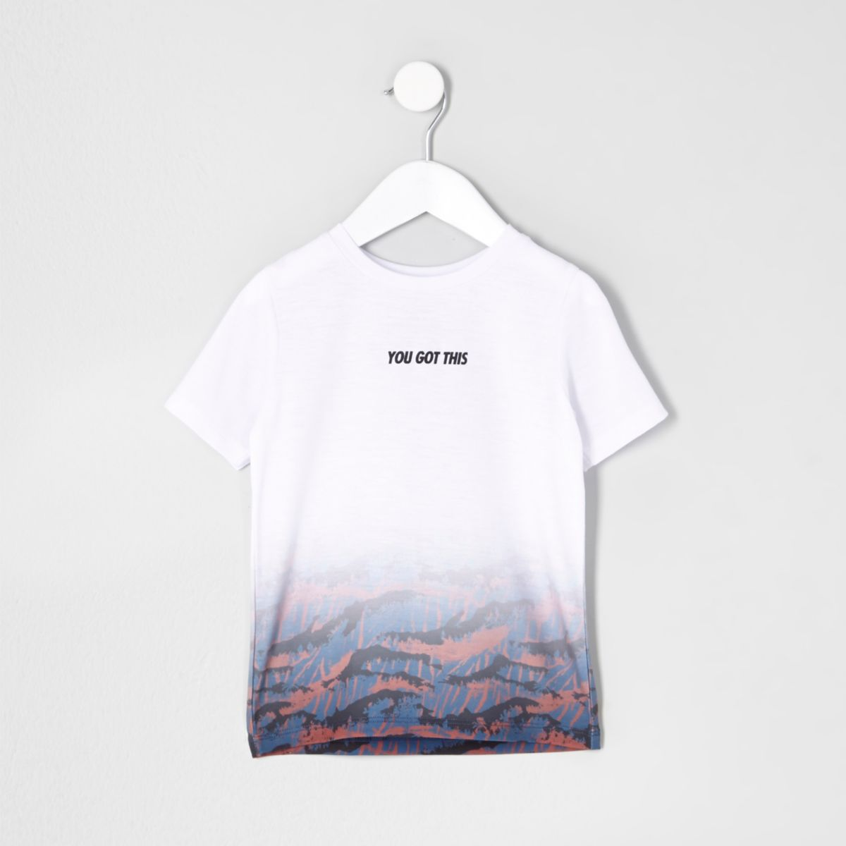 Mini boys white fade print T-shirt