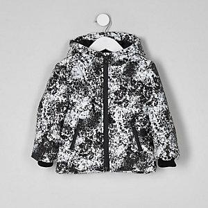 Mini boys reflective print puffer jacket