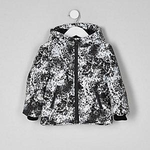 Mini boys reflective print puffer jacket