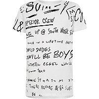 Boys white monochrome graffiti print T-shirt