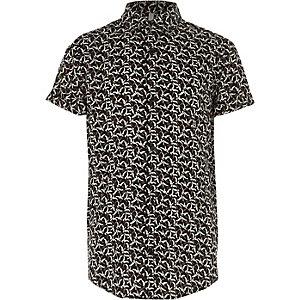 Zwart overhemd met korte mouwen en vogelprint voor jongens