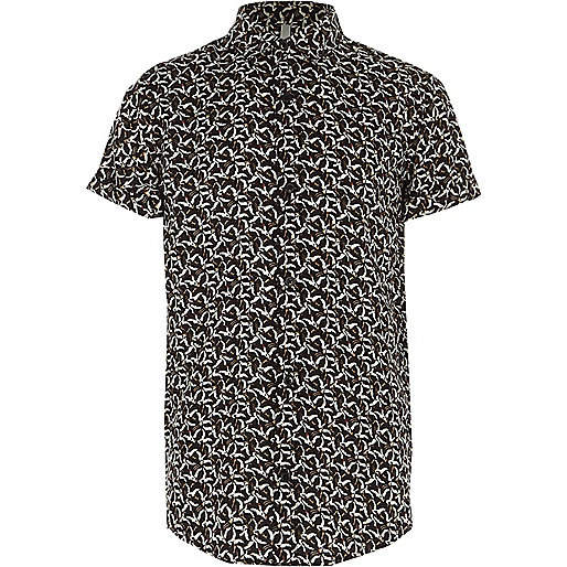 Boys black bird print short sleeve shirt