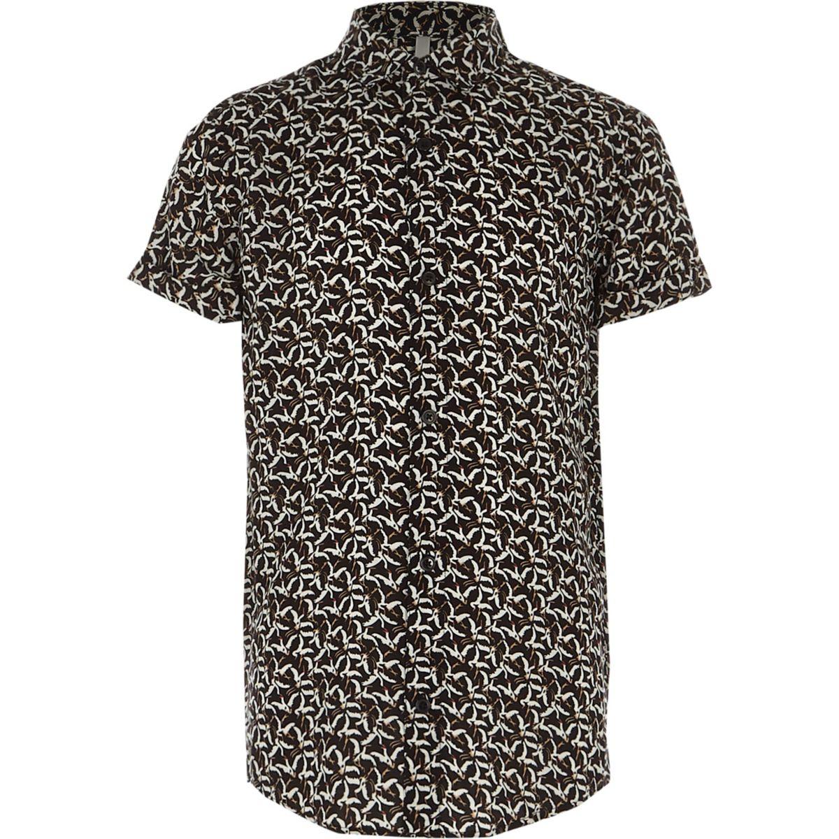 Boys black bird print short sleeve shirt