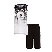 Boys black 'California' fade tank outfit