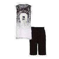 Boys black 'California' fade tank outfit