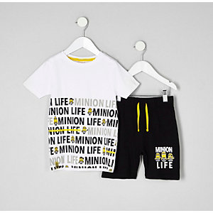 Mini boys white Minions pajama set
