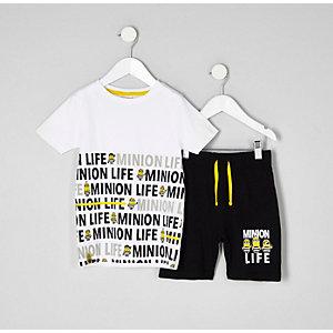 Mini - Witte pyjamaset met Minions-print voor jongens