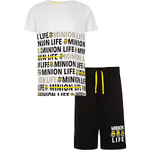 Boys white 'Minion life' pajama set