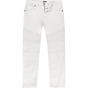 Boys white skinny biker Sid jeans