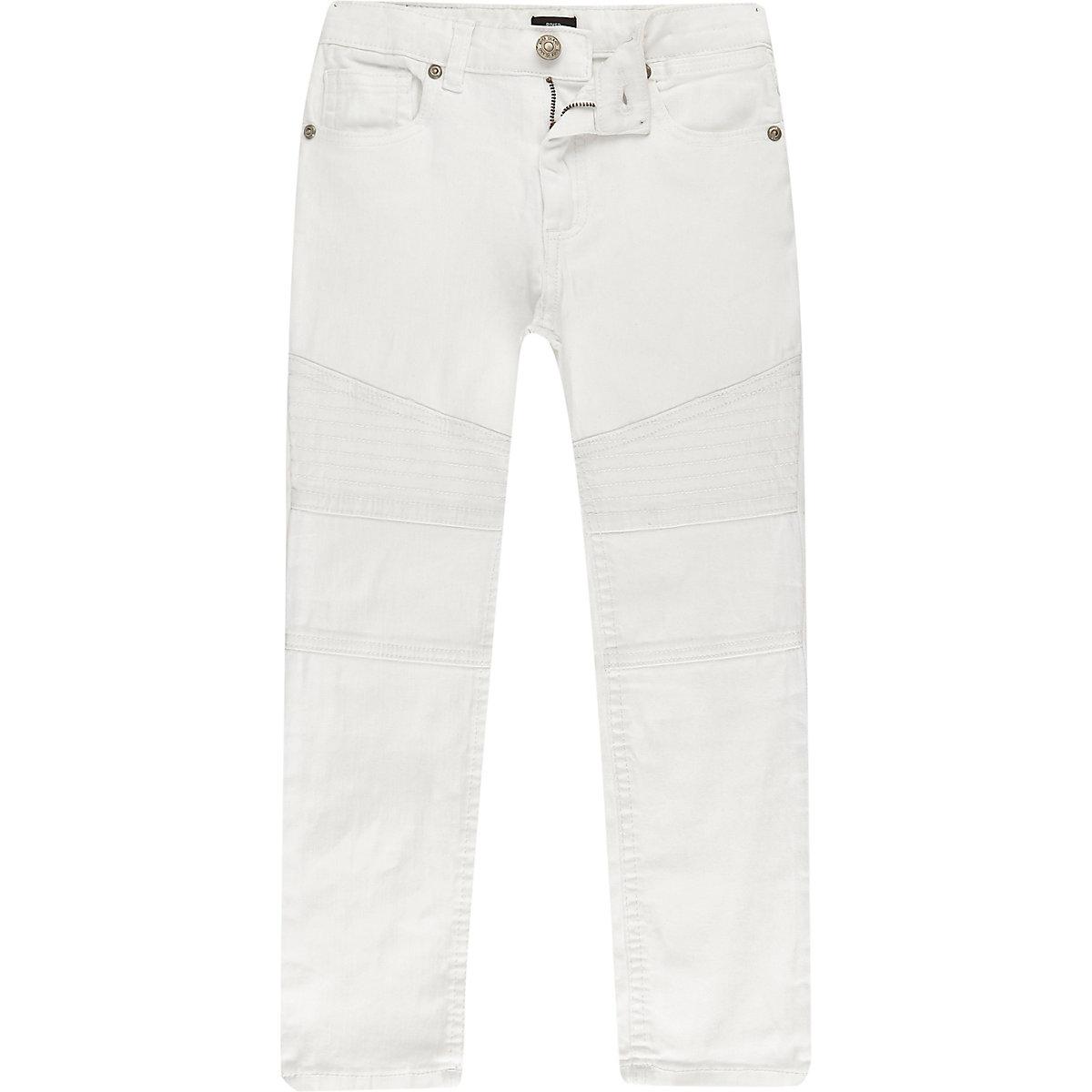 Sid – Jean skinny blanc style motard pour garçon