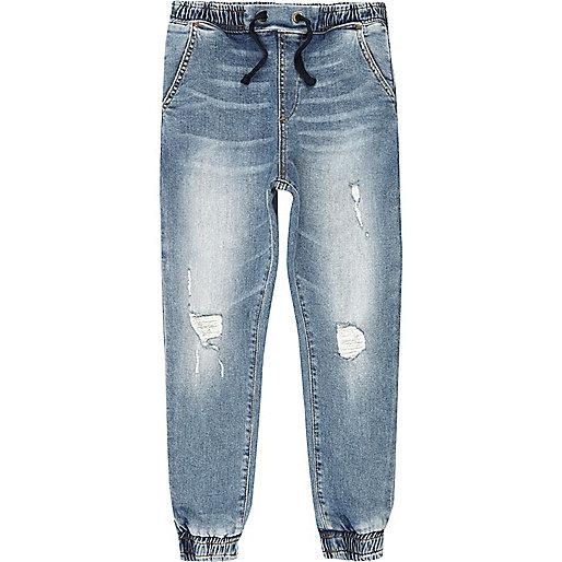 Boys blue distressed denim jogger jeans
