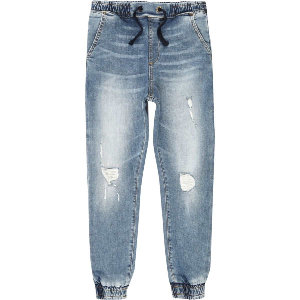 Boys blue distressed denim jogger jeans